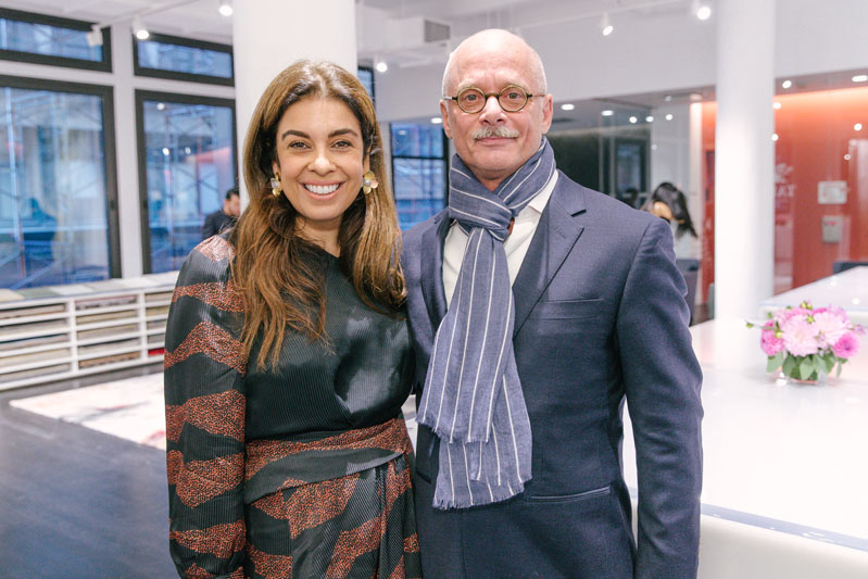 Carl Dellatore with Los Angeles–based Natasha Baradaran, who was featured in 'On Style' and flew in from California to attend the party celebrating the book.