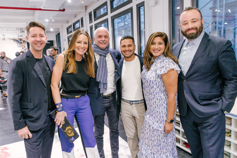 Five of the designers whose work appears in the book join Carl Dellatore for a candid laugh. From left: New York–based designer Kevin Dumais; Houston-based Lucinda Loya; the creative director at Anthony Baratta, Erick Espinoza; New York–based designer Tina Ramchandani; and Los Angeles–based Oliver M. Furth.