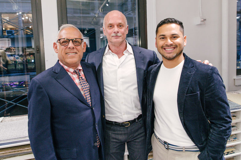 Design legend Anthony Baratta (left) and his creative director, Erick Espinoza, whose work is included in 'On Style,' flank author Carl Dellatore.