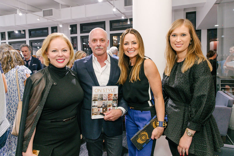 The three talented Houston-based designers featured in 'On Style' stop for a 'Texas moment' with Carl Dellatore. From left: Laura Umansky, Lucinda Loya, and best-selling author Paloma Contreras.