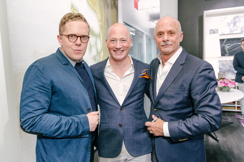 Carl Dellatore (right) joined by Michael Adams (left), who is featured in 'On Style,' and Jonathan Arnold (center), U.S. director of marketing at Tai Ping/Edward Fields.