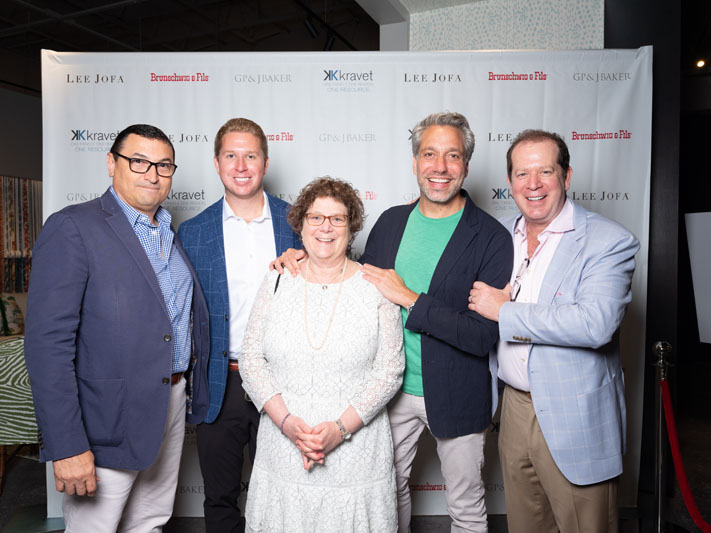Interior designer Thom Filicia (second from right), with Kravet regional VP Frank Cauce, VP of sales Daniel Kravet, EVP Ellen Kravet, and chief creative officer Scott Kravet