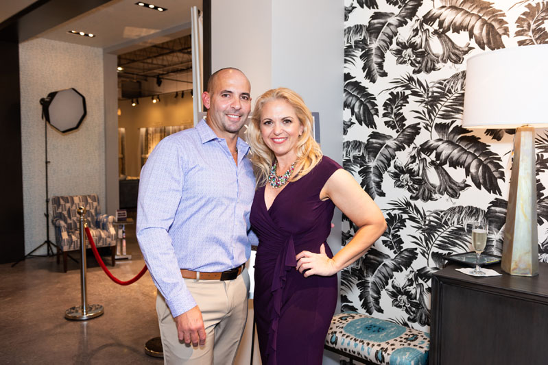 Kravet Hollywood showroom sales associate Hebel Morales and showroom emissary Leslie Reilly