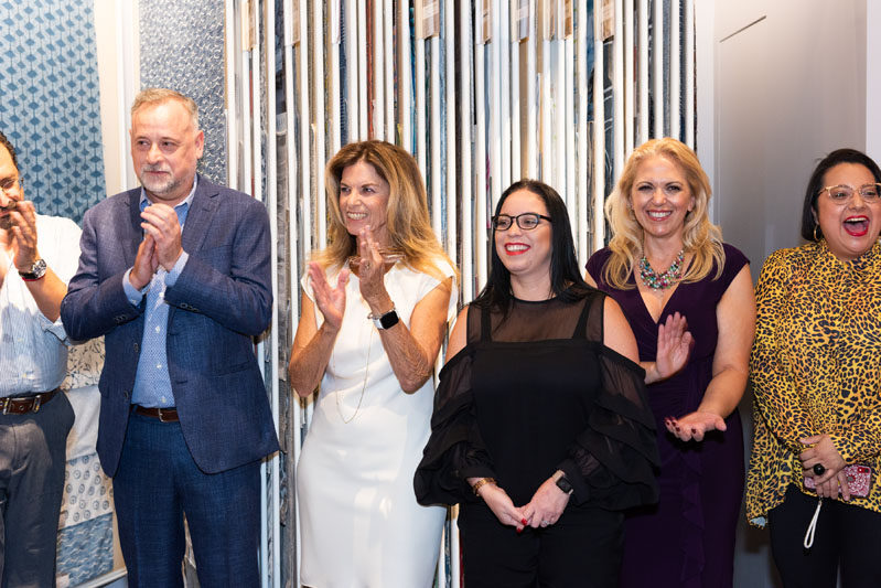 Kravet Inc.'s VP of showroom design and construction Bernard Bazin, sales representative Janis Veller, regional administrative assistant Isis Castillo, Hollywood showroom emissary Leslie Reilly, and Hollywood showroom merchandiser/sample department Serai Cuevas