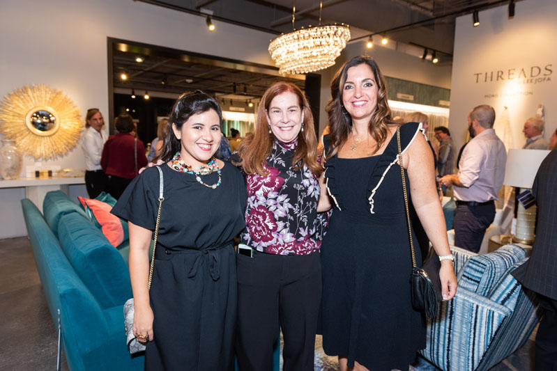 Joan Cauce, sales representative, Kravet Inc. (center), with Vanessa Guerrero and Sarah Zohar of Sarah Z Design