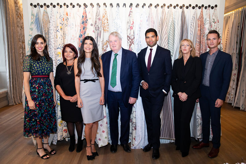 Chelsea Textiles's Kristen Thorsen, Mona Perlhagen and Jenny Simpson; Robert Kime's Robert Kime, Orlando Atty and Emma Young, and Chelsea Textile's Justin Jones