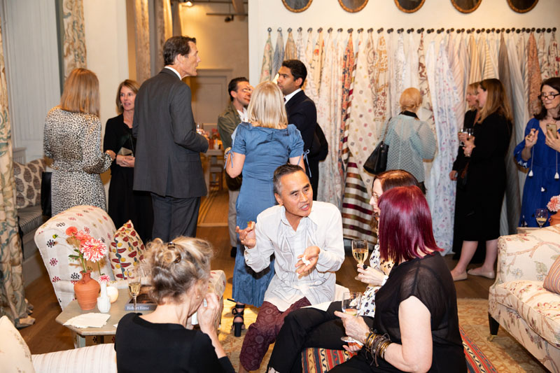 Over 140 guests gathered to welcome Robert Kime to the Chelsea Textiles showroom.