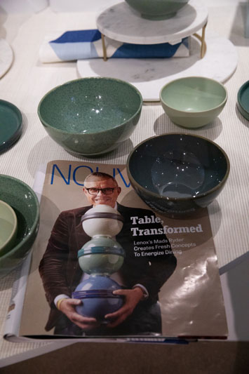 New Luna nesting set atop a magazine featuring Lenox Corporation CEO Mads Ryder