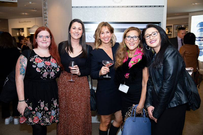 Deeanna Black, Beth Baer, Gwen Toma and Jessica Zultewicz of Lenox with Adeline Trento from Macy's