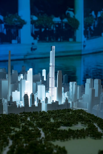 Model of the 1,550-foot-tall Central Park Tower and surrounding buildings overlooking the park.