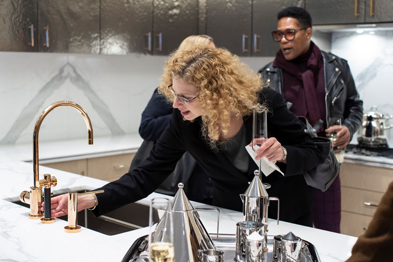 Suzanne Silverman takes a closer look at the rose-gold Dornbracht faucet.