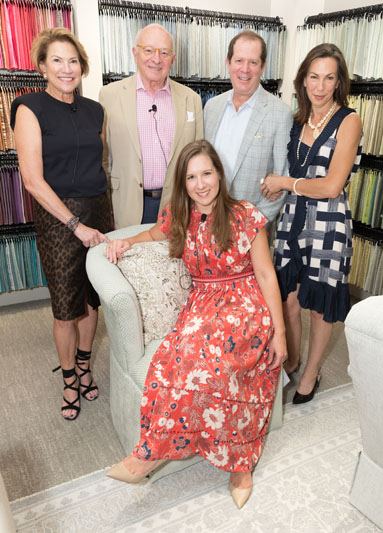 Kravet hosted a panel on 'Hospitality at Home: The Inviting House,' moderated by Kaitlin Petersen of BOH (front). The panelists included interior designer Susan B. Bozeman (left), architect Norman Askins (second from left) and author Susan Sully (right).