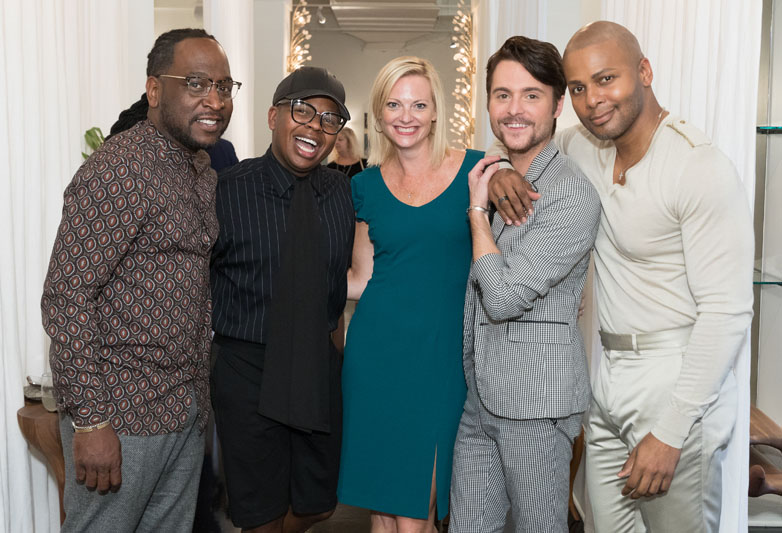 Interior designer Jason Mitchell, floral designer Canaan Marshall, ADAC general manager Katie Miner, designer Kody Berry and interior designer Michel Smith Boyd at Showroom 58 during Discover ADAC.