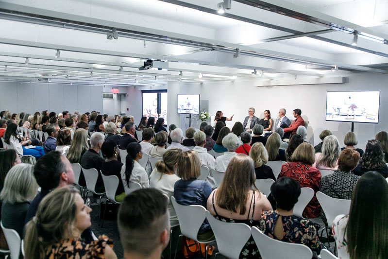 It's a full house for the 'Keep It Chic' panel featuring moderator Pamela Jaccarino of Luxe Interiors + Design and design duos Klaus Baer and Rush Jenkins of WRJ Design and Jesse Carrier and Mara Miller of Carrier and Company.