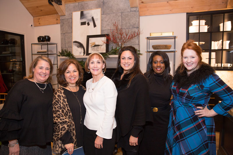 Miriam Wagner Griffin of Atlanta Homes & Lifestyles; Theresa Druckenmiller of TD Interiors; Ann Wisniewski; Calais McGuinness of Panoramic Doors; MacKenzie Johnson of ADAC; and Tasha Norland of AmericasMart