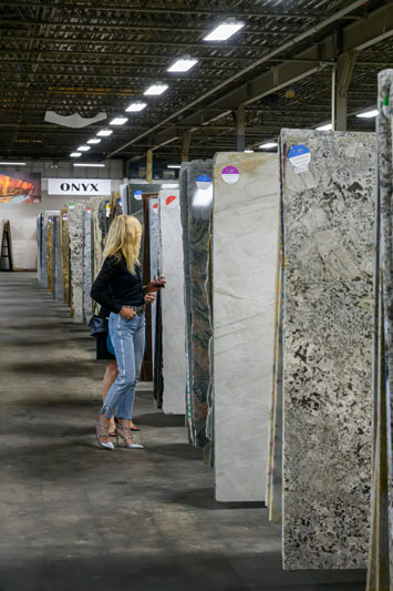 Guests perused the many stone options on display in the Nash Stone showroom.