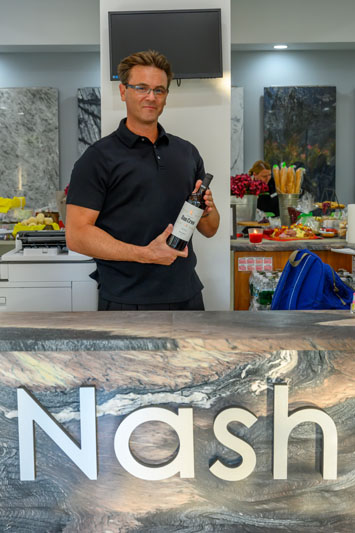 The Nash Stone showroom served their very own Dan Creo wine.