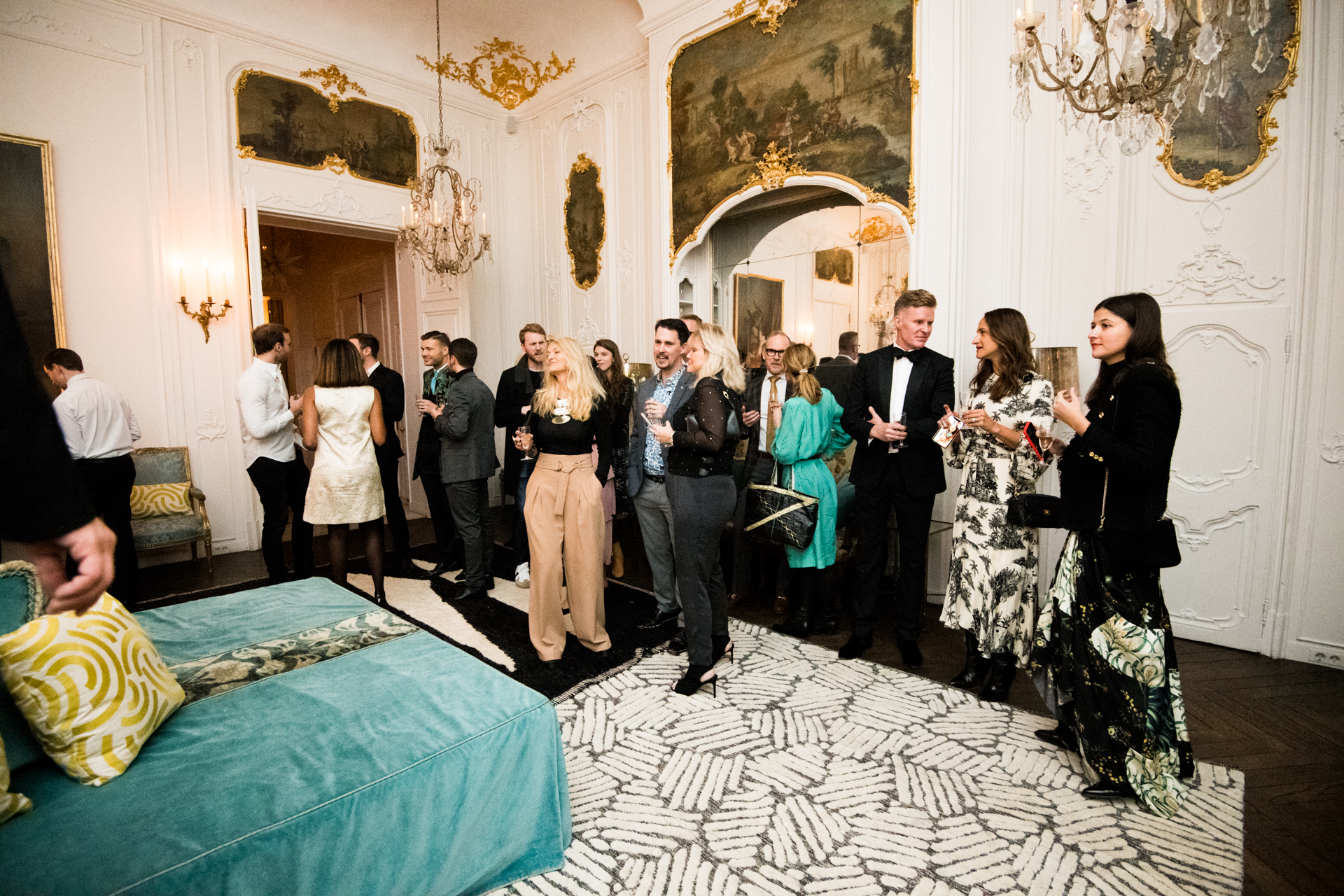 The room was appointed with rugs from Marc Phillips and fabric from Castel.