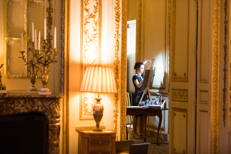 A live painter at the American Ambassador's Residence