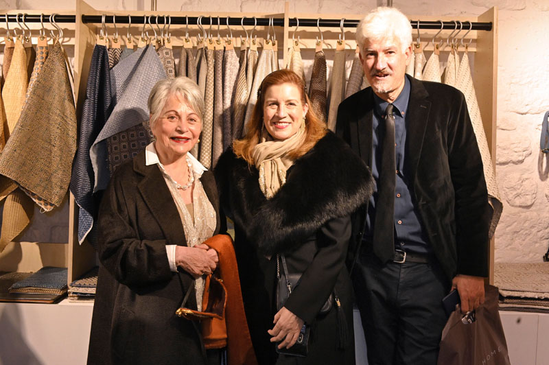 Sandra Jordan of Sandra Jordan Prima Alpaca with designers Jean Larette and Andrew Tullis at the Jiun Ho Inc., Lance Woven, and Cambria pop-up.