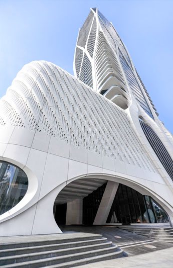 Facade of One Thousand Museum Residences by Zaha Hadid