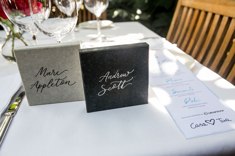 Caesarstone place-card tiles adorned the table at the Gold List luncheon.