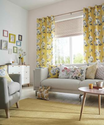 Draperies in Cath Kidston's Promise fabric in Canary brings botanicals indoors
