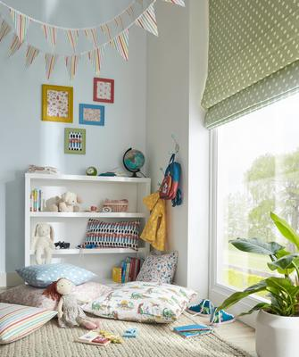 Roman shades featuring Giggle in Seafoam colorway
