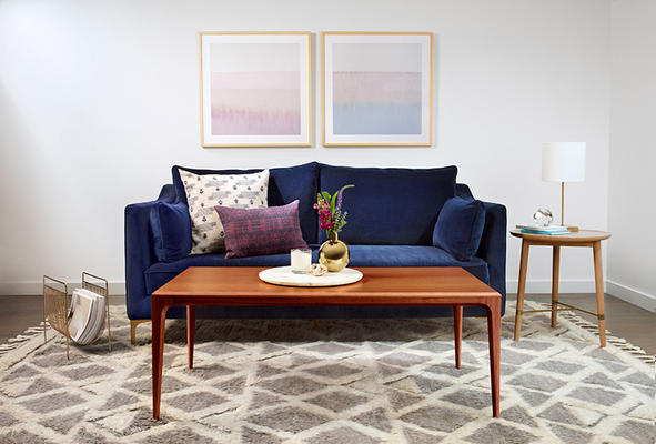Caitlin Sofa, Linden Coffee Table and Shiloh Rug