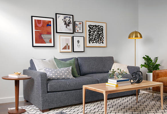 Sloan Sofa, Linden Coffee Table and Reed Rug
