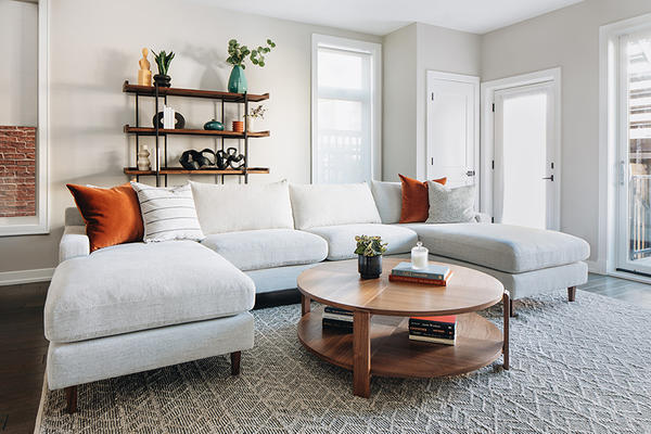 Sloan Sectional, Devon Coffee Table and Taylor Rug