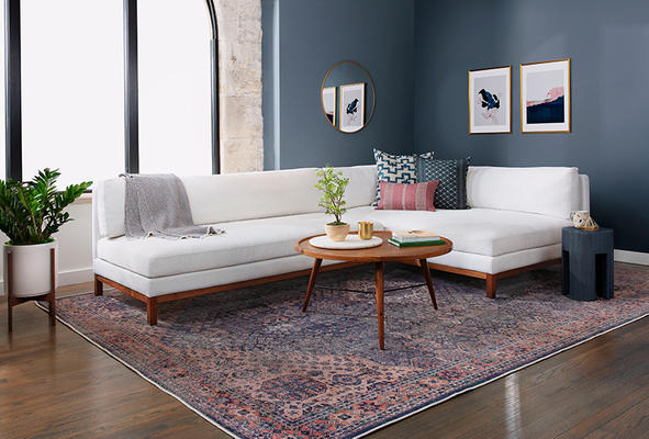Jasper Sectional, Brooks Coffee Table, Greer Side Table, and Riley Rug