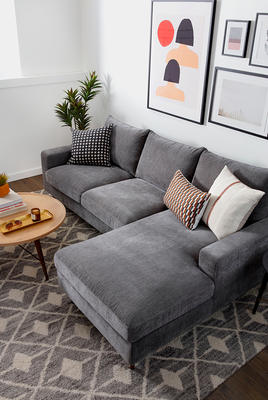 Sloane Right Chaise Sectional, Brooks Coffee Table and Payton Rug