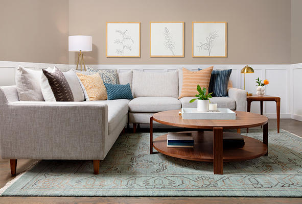 Sloan Sectional, Devon Coffee Table and Aiden Rug