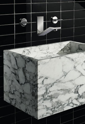 "Andro Sink in Arabescato Honed and Formwork Faucet with Lever Handles, Kromaglas 3"" x 6"" Tile in Jet Glossy"