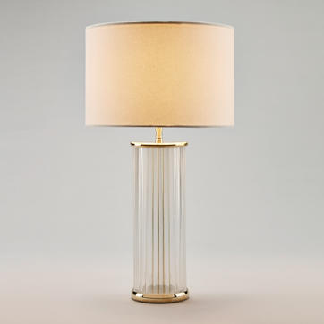 Clear Ribbed Glass Table Lamp