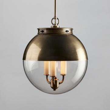 Hector Glass Globe Pendant with Antique Brass Hood