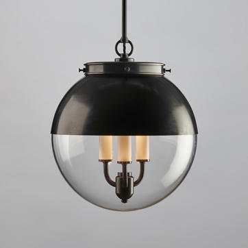 Hector Glass Globe Pendant with Hood in Bronze