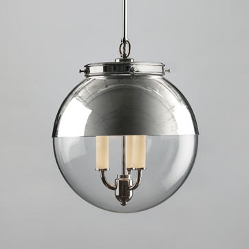 Hector Glass Globe Pendant with Hood in Polished Nickel