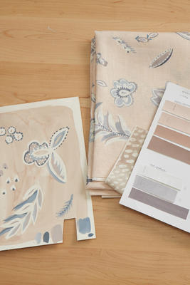The original artwork and color behind the Flora pattern in Taupe