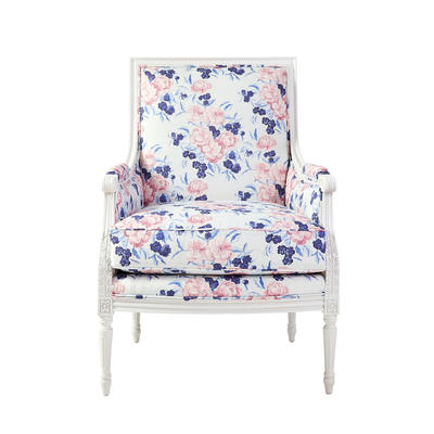 The Heidi Chair with Mayfair in Thistle upholstery