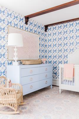 Bows and Blossoms Wallpaper enlivens a room