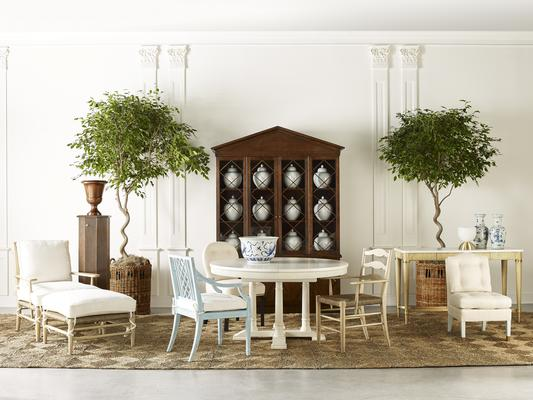 The Ivy Lounge Chair with Ivy Ottoman, Marigold Pedestal with Urn, Dahlia Dining Side Chair, Myrtle Dining Arm Chair, Juniper Dining Arm Chair, Hollyhock Dining Table, Dogwood Cabinet, Gardenia Console Table and Primrose Slipper Chair