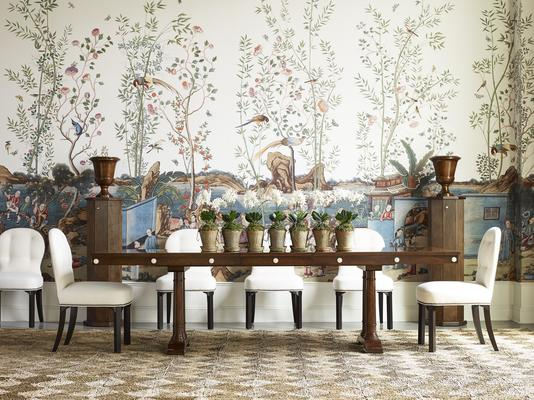 Foxglove Dining Table, Dahlia Dining Side Chairs,  and Marigold Pedestal with Urn