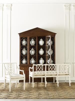 Myrtle Dining Arm Chair, Aster Setee and Dogwood Cabinet