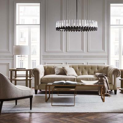 Addison Leather Sofa with the Astor Nesting Cocktail Table and Bella Chairs
