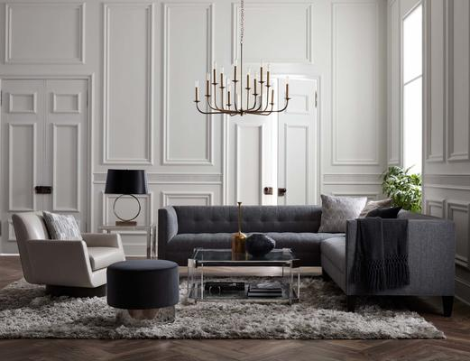 The Kennedy Sectional with the Melrose Cocktail Table, Astor Chandelier, Supernoval Swivel Chair, and Margaux Swivel Ottoman