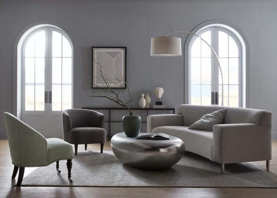 The Costello Chair with a Riverstone Cocktail Table, Marcello Sofa and Mae Chair