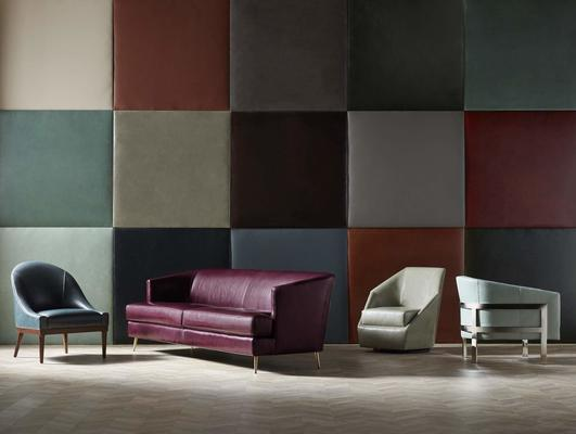 Moore & Giles Leathers are available on the Bella Chair, Coco Sofa, Jewel Return Swivel Chair and Avery Leather Chair