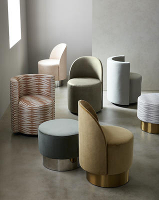 Margaux and Poppy Swivel Chairs with a Margaux Swivel Ottoman